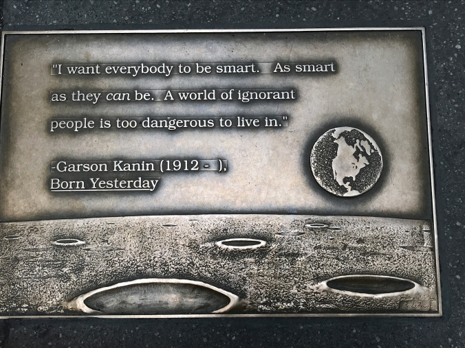 Suddenly Mad- I want everybody to be smart plaque on the NY Public Library walk