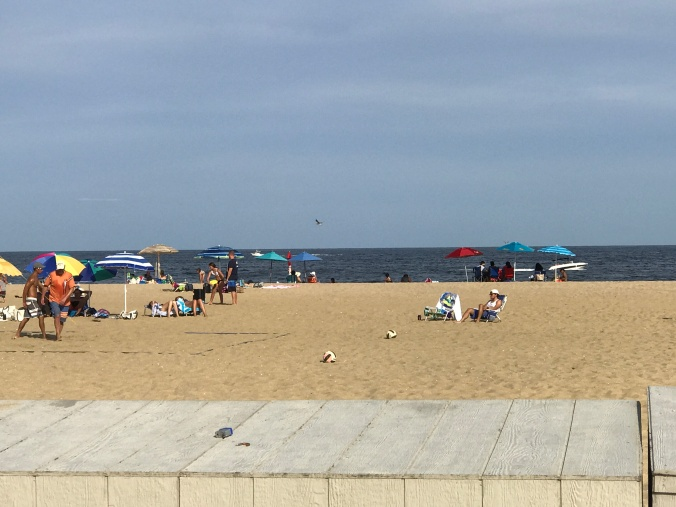 Suddenly Mad- Belmar beach with umbrellas