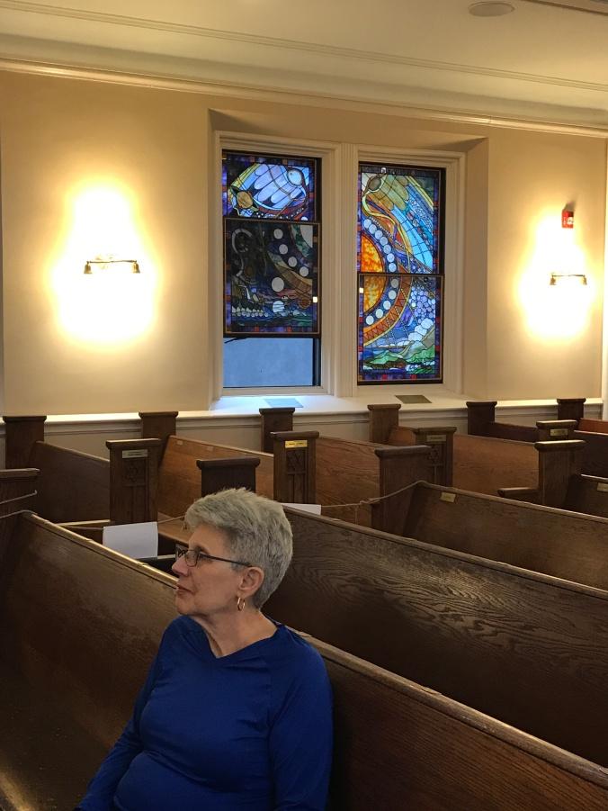 Jeanne at synagogue Rosh Hashanah.JPG