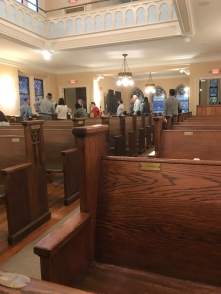 This is my life with Alzheimer_s now- rabbi showing stained glass windows after musical Shabbat