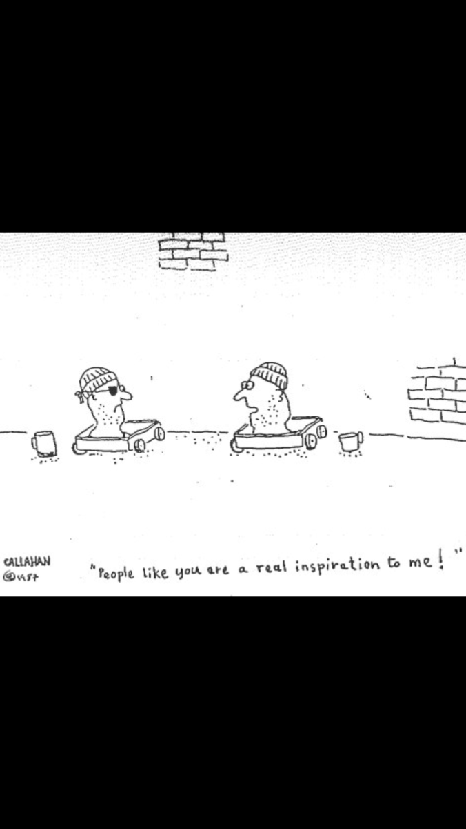 Suddenly Mad- A Better World (John Callahan - cartoon - heads on carts - humour helps deal with the horror)