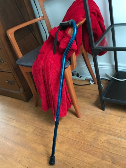 Now and Then- my blue cane after injury