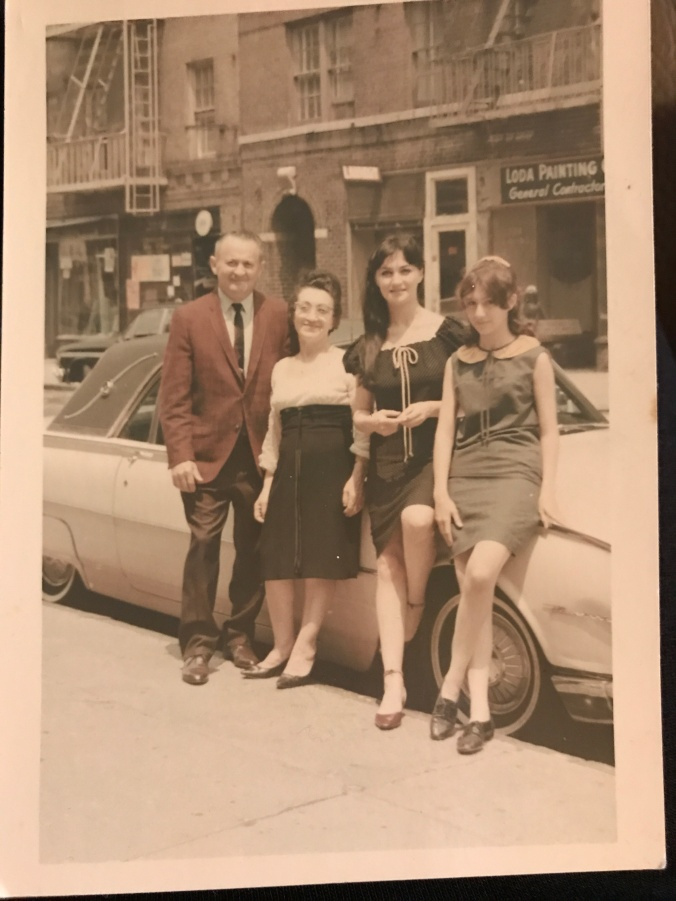 Suddenly Mad- my parents and Lillian and me in front of the pink Thunderbird (Bronx)