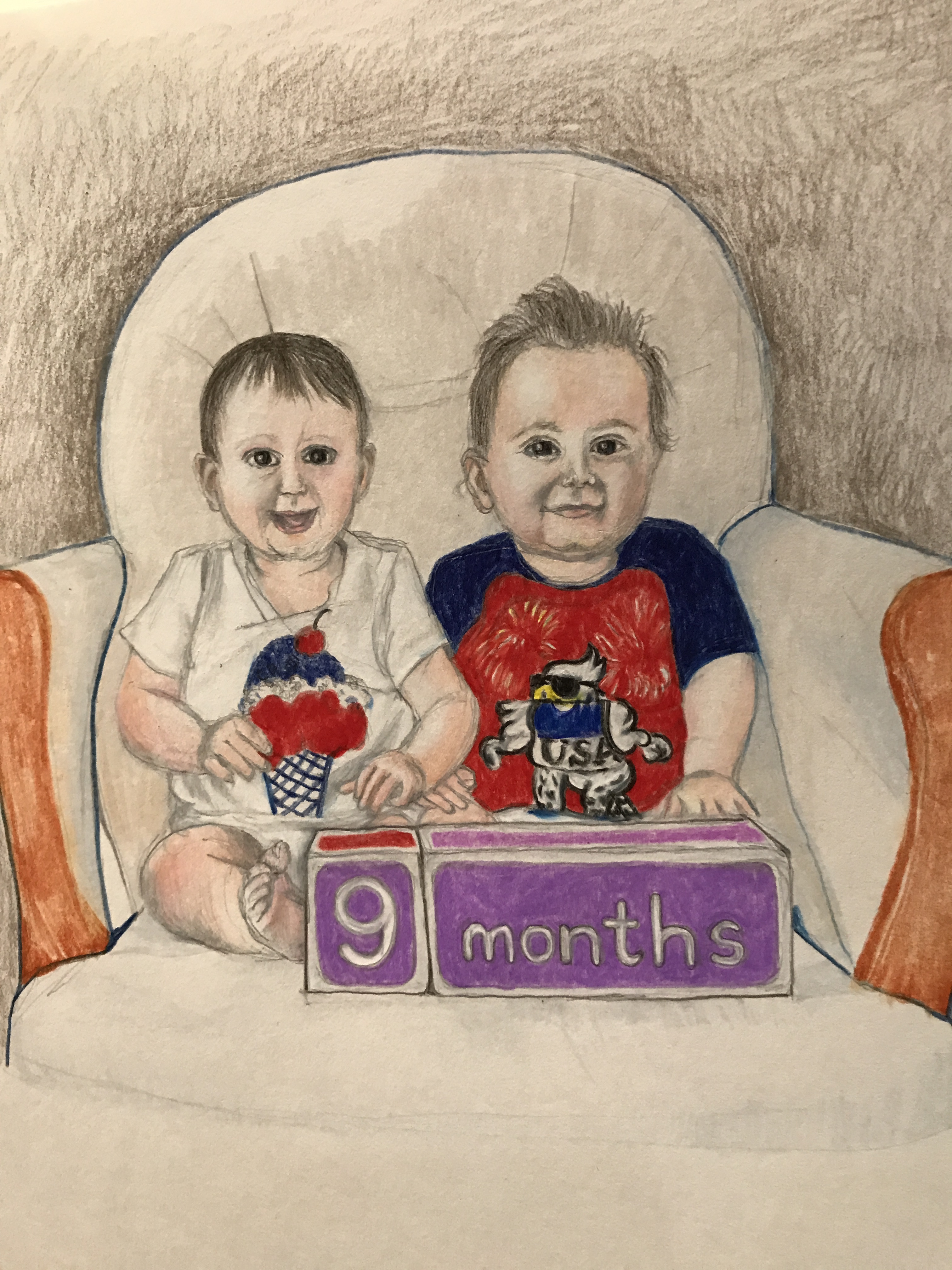 Suddenly Mad- The Unbelievable Story of Caarin showing up (drawing of Sara and Michael at 9 months)
