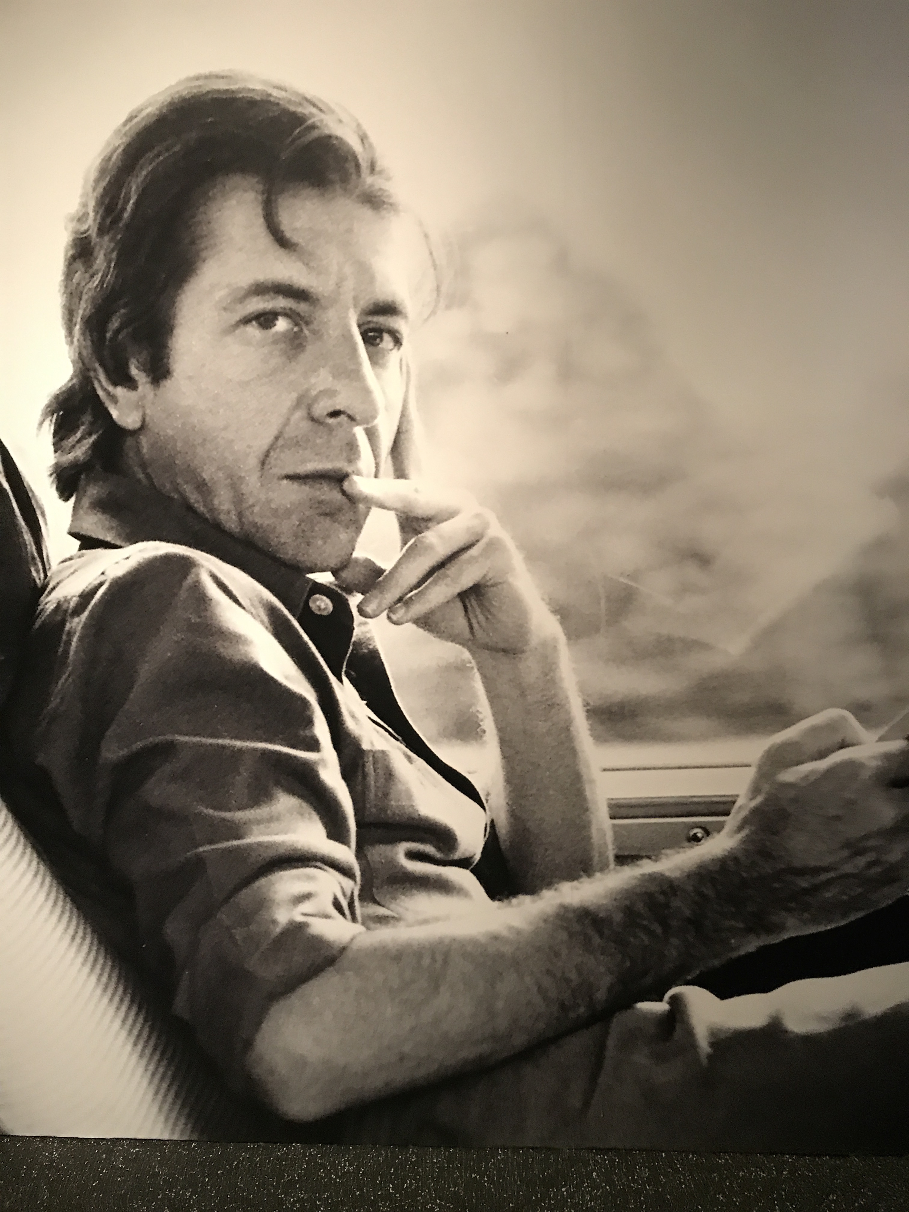 Leonard Cohen exhibit at the Jewish museum A Crack in Everything (photo of Cohen)