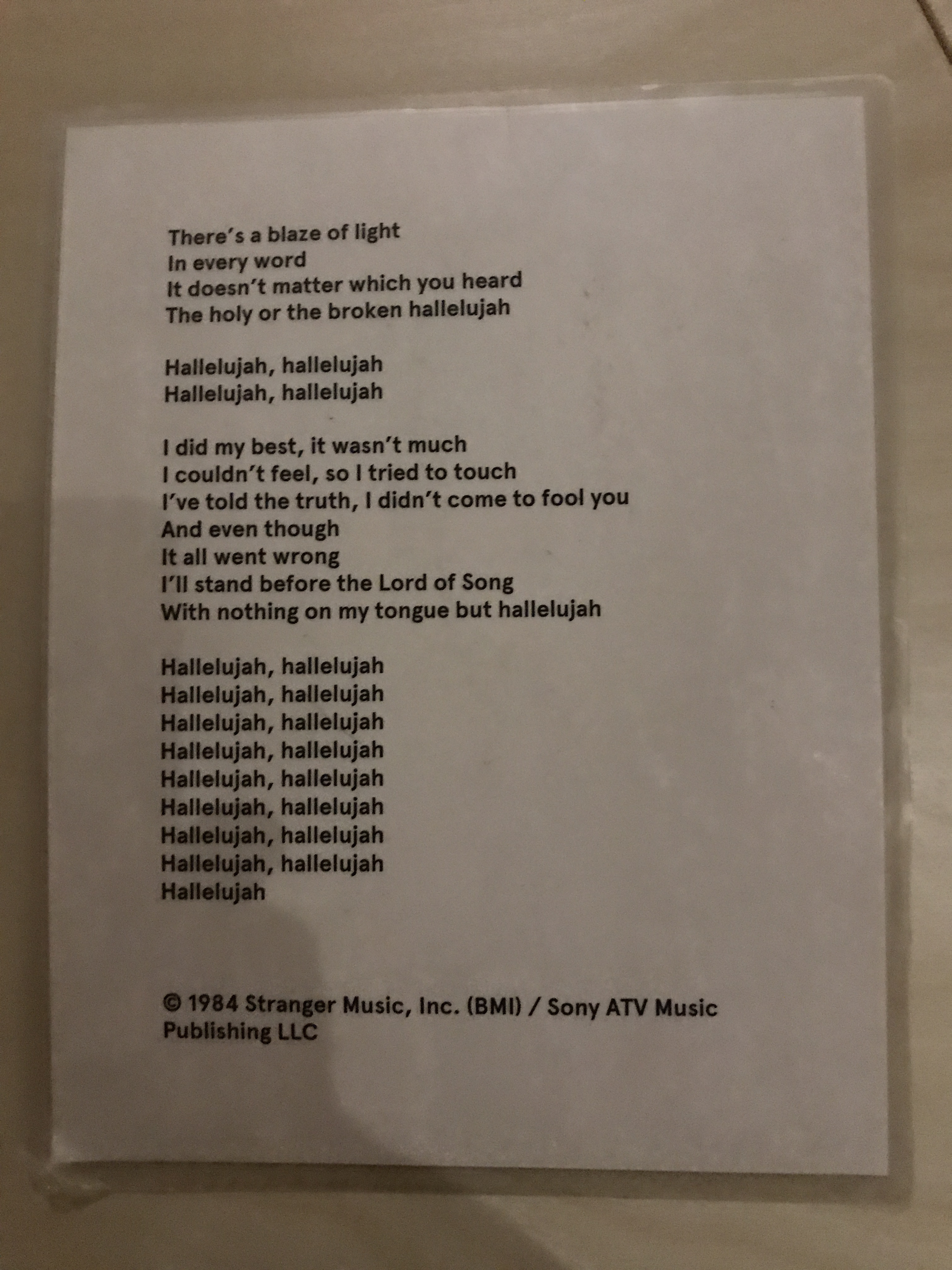 Leonard Cohen exhibit (lyrics to Hallelujah p. 2)