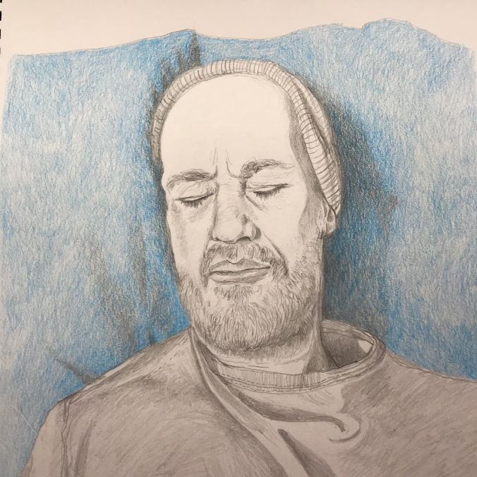 Suddenly Mad- Wish this was a dream (drawing of Wayne with his eyes closed)