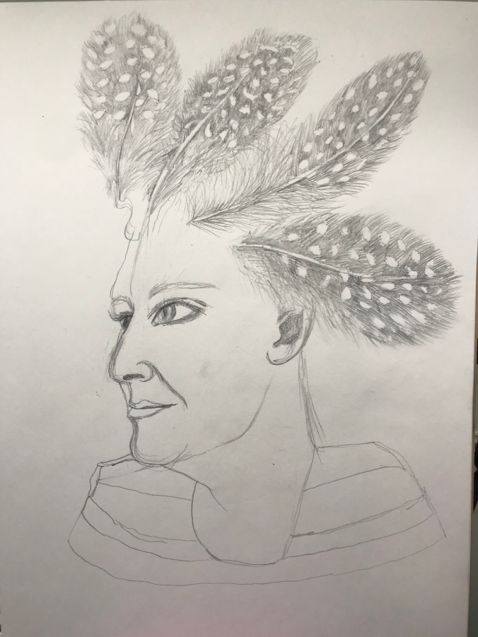 Suddenly Mad- Poof (self portrait with feathers)